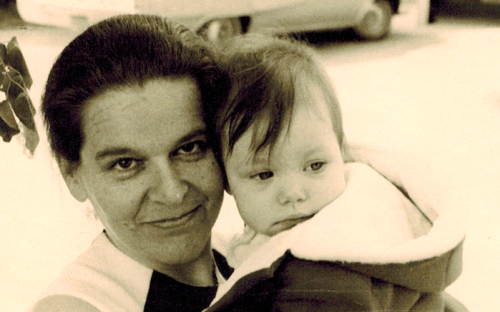 Zsuzsa with unknown child, North America